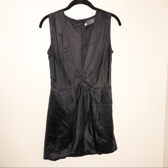 Myne Dresses & Skirts - Myne Ashley Ann. Deep Plunge Black 100% Silk Dress